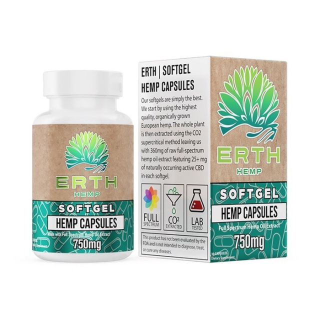 ERTH Hemp Full Spectrum Raw Oil CBD Soft Gels - 750mg Small Product Picture