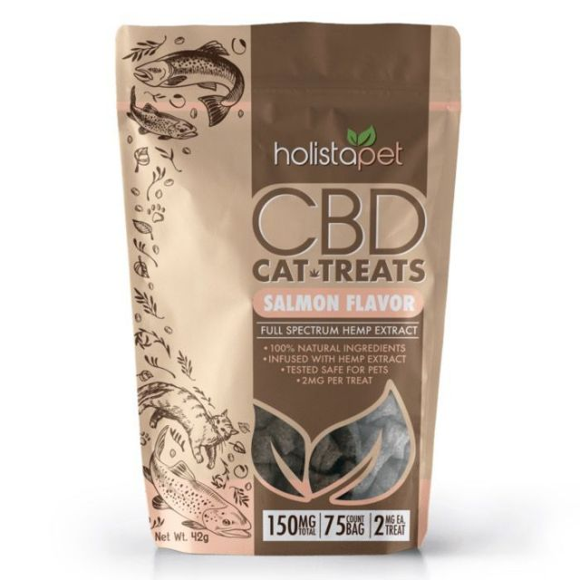 HolistaPet Full Spectrum CBD Cat Treats - Salmon Flavor - 150mg